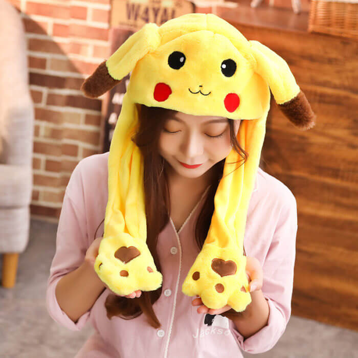 2020 New Cartoon Hats Moving Ears Cute Rabbit Toy Hat Airbag Kawaii Funny Hat for Girls Cap Kids Plush Toy Christmas Gift 5