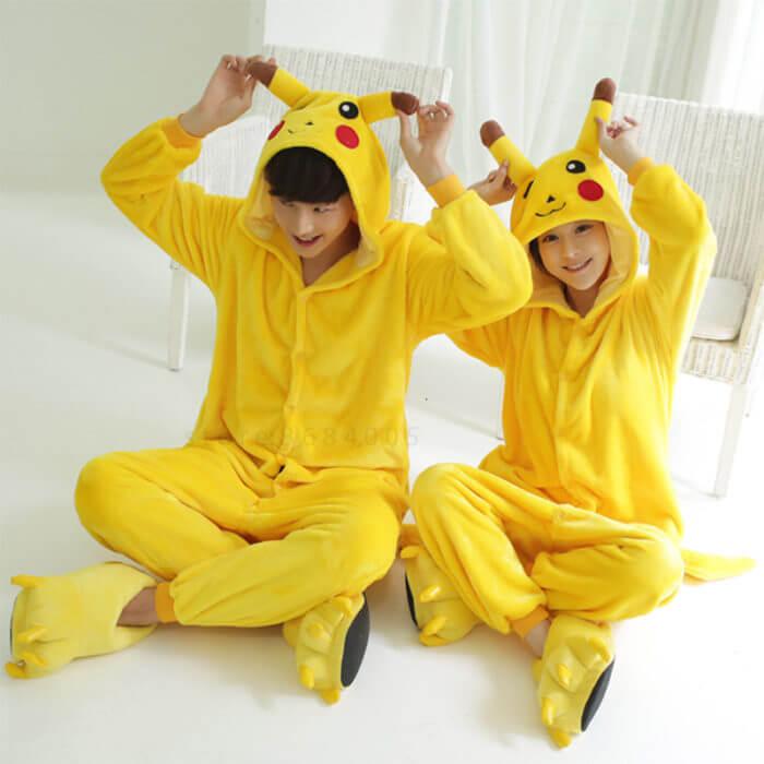 Kigurumi Unicorn Pajama Adult Animal Pikachu Onesie Women Men Couple 2019 Winter Pajamas Suit Stitch Sleepwear Flannel Pijamas 5