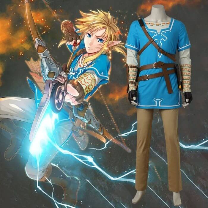 The Legend of Zelda Breath of the Wild Link Cosplay Costume Anime Uniform Halloween Carnival Cosplay Adult Men Blue Shirt Unisex 1