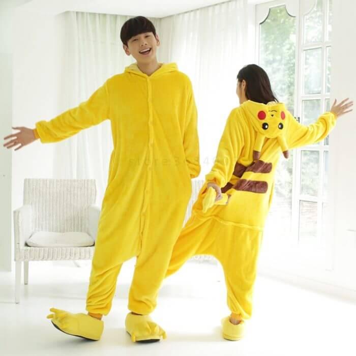 Kigurumi Unicorn Pajama Adult Animal Pikachu Onesie Women Men Couple 2019 Winter Pajamas Suit Stitch Sleepwear Flannel Pijamas 2
