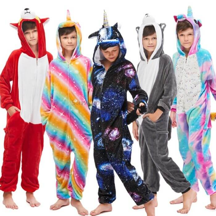 Kids Kigurumi Onesie Unicorn Pajamas For Children Animal Dinosaur Blanket Sleepers Baby Costume Winter Boy Girl Licorne Jumspuit 6
