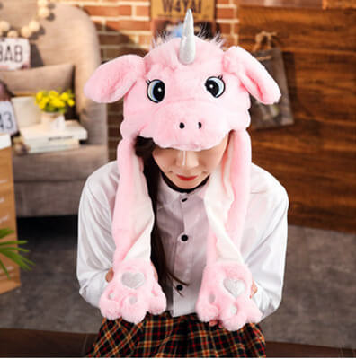2020 New Cartoon Hats Moving Ears Cute Rabbit Toy Hat Airbag Kawaii Funny Hat for Girls Cap Kids Plush Toy Christmas Gift 42
