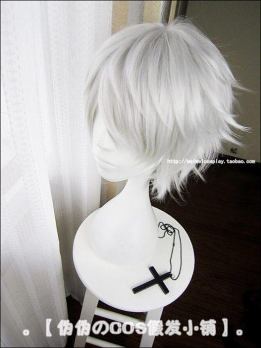 Anime Tokyo Ghoul Kaneki Ken Kurze Silber Weiß Hitzebeständig Haar Cosplay Kostüm Perücke + Freie Wig Cap 3