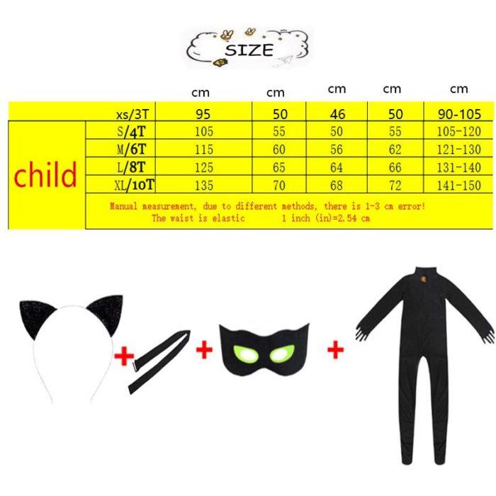 Kind Schwarz Katze Noir Cosplay Kostüm Magie Halloween Weihnachten Overall Jungen Adrian Marinette Super Hero Cosplay 5
