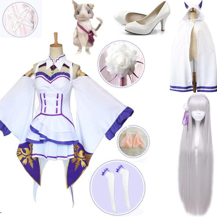 Re Null Kara Hajimeru Isekai Seikatsu Emilia Perücken Cosplay Kostüme Frauen Kleid Mit Kopfschmuck Für Halloween Party 1