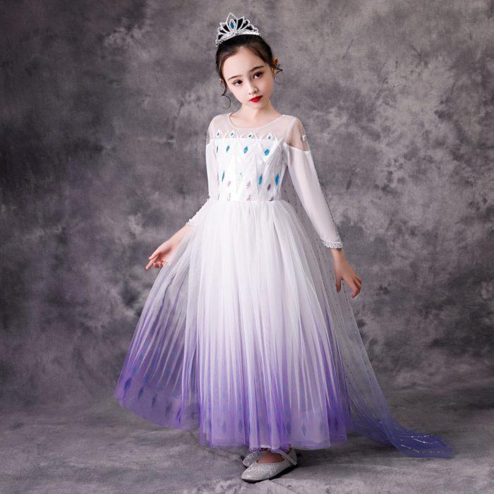 Top Schnee Königin Baby Mädchen Weiß Elsa Kleid Anna Elsa Cosplay Kostüm Sommer Prinzessin Kleid Halloween Geburtstag Party Hochzeit Kleid 1