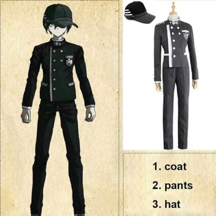 Nach Maß Neue Danganronpa V3 Cosplay Saihara Shuichi Cosplay Kostüm Anime Spiel Schuluniform Anzug Outfit Mantel + Hosen + hut 1