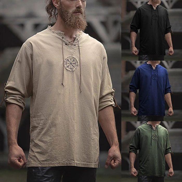 Mittelalterlichen Viking Pirate Leinen Top Hemd Kostüm Herren Nordic Krieger Retro T-shirt Bart Cosplay T Stickerei Für Erwachsene 4XL 5XL 1