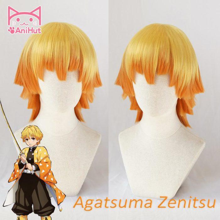 【AniHut】Agatsuma Zenitsu Perücke Kimetsu keine Yaiba Dämon Slayer Gelb Synthetische Wärme Beständig Haar Agatsuma Zenitsu Cosplay 1