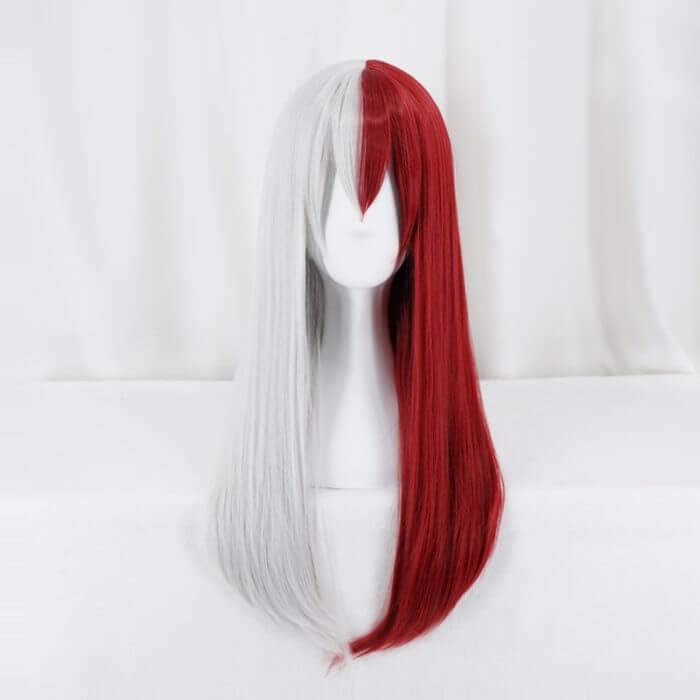 Mein Hero Wissenschaft Todoroki Shoto Frauen Lange Perücke Cosplay Kostüm Boku keine Hero Wissenschaft Rot und Weiß Haar Halloween Party perücken 1