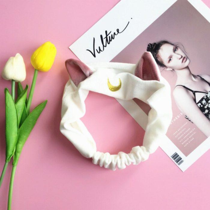 Sailor Moon Luna Katze Ohren Stirnband Cosplay prop Nette Gesicht Waschen Make-Up Werkzeug Haar Zubehör 4