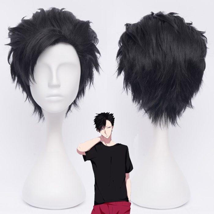 Haikyuu!! 30cm Tetsurou Kuroo Tetsurou Kurze Schwarz Styled Synthetische Haar Cosplay Perücke Wärme Widerstand Kostüm Perücken + Perücke Kappe 1