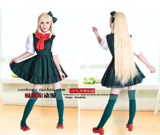 Anime Danganronpa cosplay Sonia Nevermind cos mode neue grün kleid cosplay frau kostüm 3