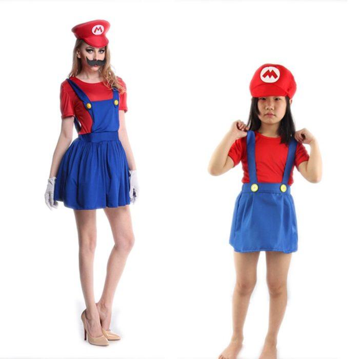 Super Mario Kleidung Erwachsene und Kinder Mario Familie Bros Cosplay Kostüm Set Kinder Geschenk Halloween Party MARIO & LUIGI Kleidung 2