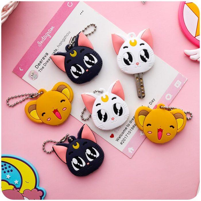 Sailor Moon Luna Card Captor Sakura Katze Keychain Abdeckung Cosplay Prop Anhänger Schlüsselring Anime 5