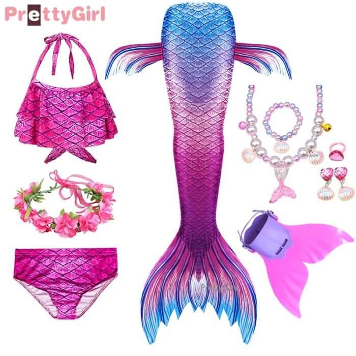 Pretty Kinder Mädchen Schwimmen Meerjungfrau schwanz Meerjungfrau Kostüm Cosplay Kinder Badeanzug Fantasie Strand Bikini können hinzufügen Monofin Fin 1