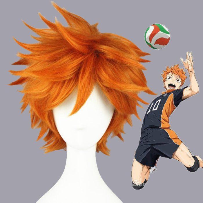 Hohe Qualität Anime Haikyuu!! Hinata Syouyou Cosplay Perücke Kurze Orange Curly Wärme Beständig Synthetische Haar Perücken + Perücke Kappe 1