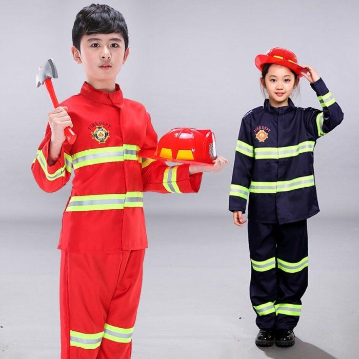 Kinder Feuerwehr Kostüme Baby Jungen Kleidung Set Halloween Party Cosplay Roleplay Feuerwehrmann Kostüme für Teenager Jungen mit Gürtel 3