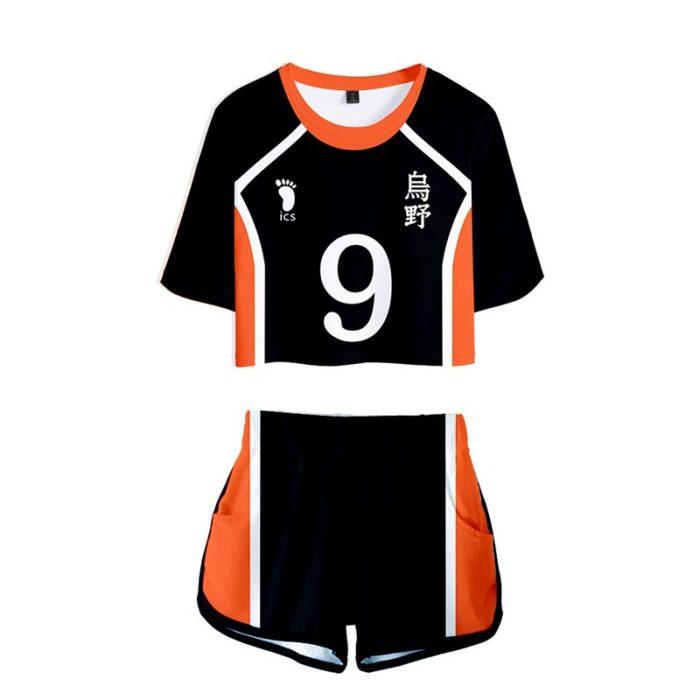 Haikyuu Cosplay Kostüm Hinata Shoyo Hemd Shorts Nishinoya Yuu Uniform Sport Karasuno Koukou Hohe Schule Volleyball Club Frauen 3