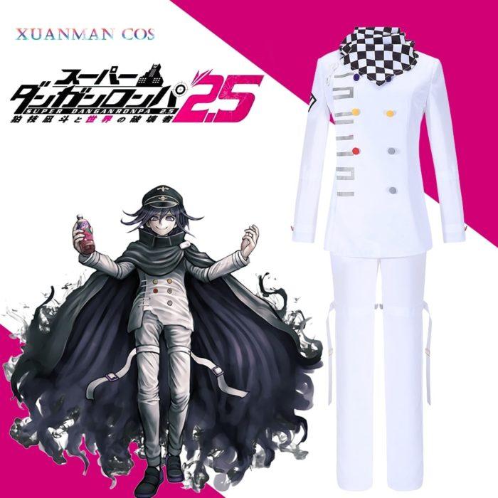 Danganronpa V3 Kokichi Ouma Cosplay Weiße Uniform Halloween Fancy Outfit Hosen Vollen Satz Cosplay Kostüm Mit Scraf Mantel 1
