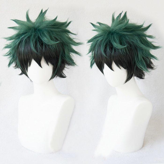 Mein Hero Wissenschaft Boku keine Hiro Akademia Izuku Midoriya Kurze Grün Schwarz Ombre Hitze Beständig Cosplay Kostüm Perücke + Track + kappe 1