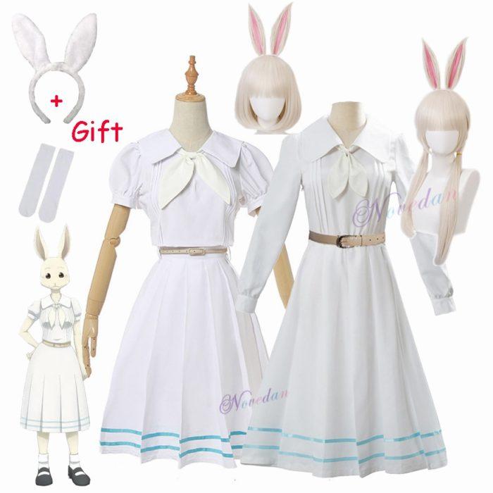 Anime Beastars Haru Cosplay Kostüm Uniform Weiß Kaninchen Tier Nette Kawaii Kleid Und Perücke Für Frauen Mädchen 1