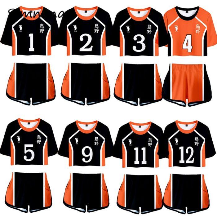 Haikyuu Cosplay Kostüm Hinata Shoyo Hemd Shorts Nishinoya Yuu Uniform Sport Karasuno Koukou Hohe Schule Volleyball Club Frauen 1