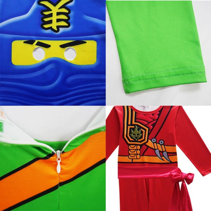 Ninjago Kostüm Jungen Kostüme Kinder Phantasie Party Kleid Up Karneval Halloween Kostüm für Kinder Ninja Cosplay Superhero Overall 3