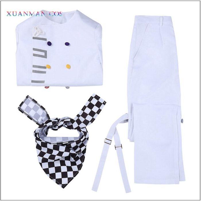 Danganronpa V3 Kokichi Ouma Cosplay Weiße Uniform Halloween Fancy Outfit Hosen Vollen Satz Cosplay Kostüm Mit Scraf Mantel 5