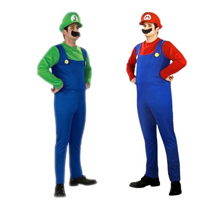 Super Mario Kleidung Erwachsene und Kinder Mario Familie Bros Cosplay Kostüm Set Kinder Geschenk Halloween Party MARIO & LUIGI Kleidung 4