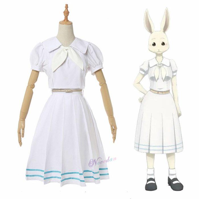 Anime Beastars Haru Cosplay Kostüm Uniform Weiß Kaninchen Tier Nette Kawaii Kleid Und Perücke Für Frauen Mädchen 4