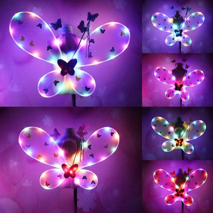 EDCRFV Frauen Mädchen Rolle-spielen Prop Nette Blinkende Flügel Tutu Rock LED Glow Stirnband Fee Stick Kinder Cosplay Kostüme 3