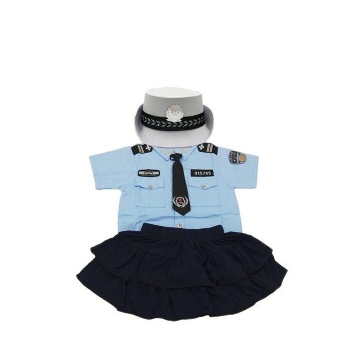 110-160cm Kinder Polizei Offizier Cosplay Kostüm Karneval Party Fancy Kleidung Set kinder Tag Tragen Mädchen Polizistin uniform 4