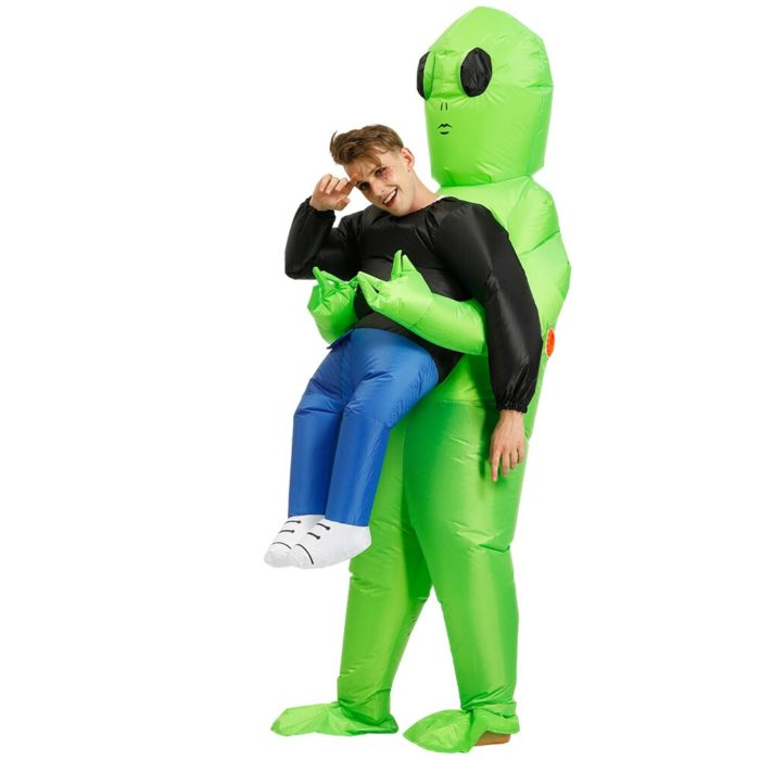 Heißer Grün Alien Aufblasbare kostüm Cosplay kostüm Lustige Blow Up Anzug Party kostüm Fancy Kleid Halloween Kostüm für erwachsene kinder 2