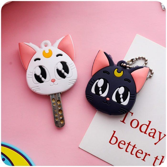 Sailor Moon Luna Card Captor Sakura Katze Keychain Abdeckung Cosplay Prop Anhänger Schlüsselring Anime 1