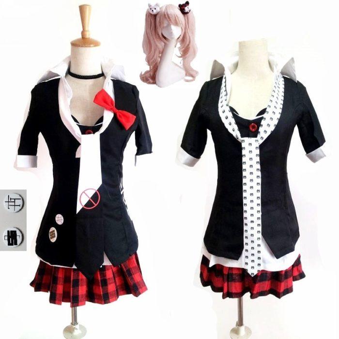 Danganronpa Cosplay Anime Dangan Ronpa Junko Enoshima Cosplay Kostüm Schule Uniformen Spiel Outfits Anzüge Prop Monokuma Haarnadeln 1