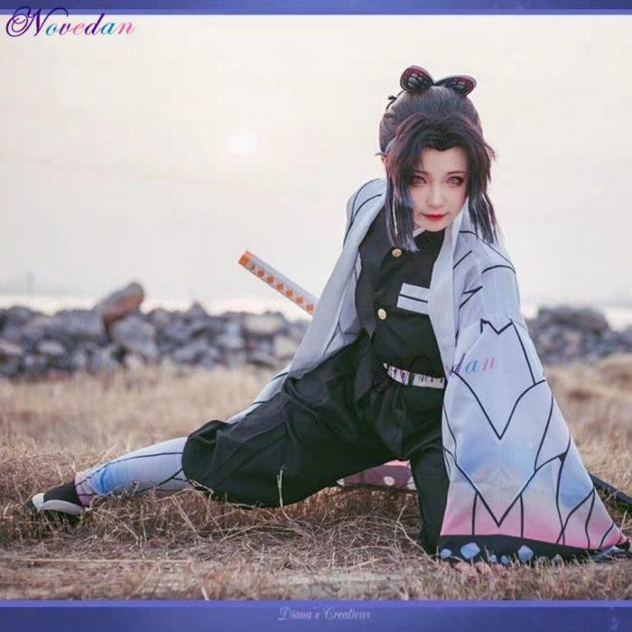 Anime Dämon Slayer Kimetsu keine Yaiba Kochou Shinobu Cosplay Kostüm Frauen Kimono Uniform Halloween Weihnachten Party Kostüm Perücke 5