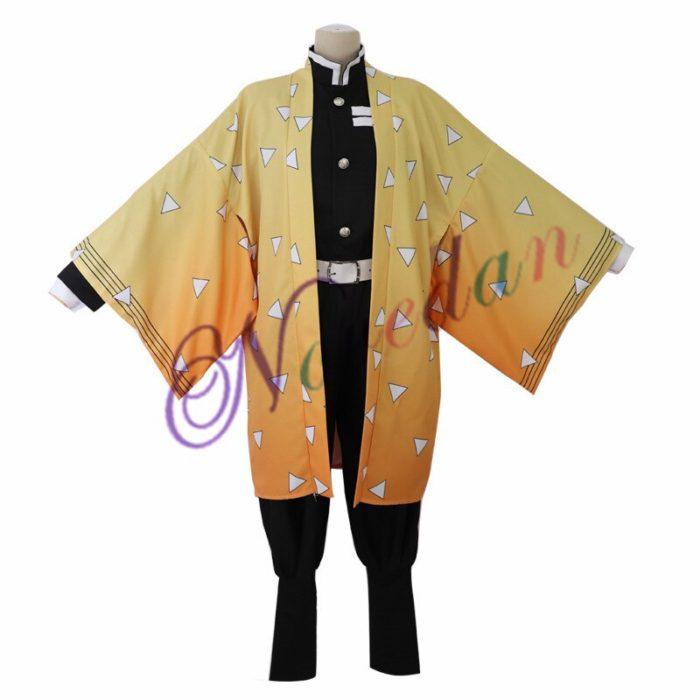 Anime Kimetsu keine Yaiba Cosplay Kostüm Dämon Slayer Agatsuma Zenitsu Cosplay Kleidung Kimono Halloween Kostüm Für Erwachsene Männer 3