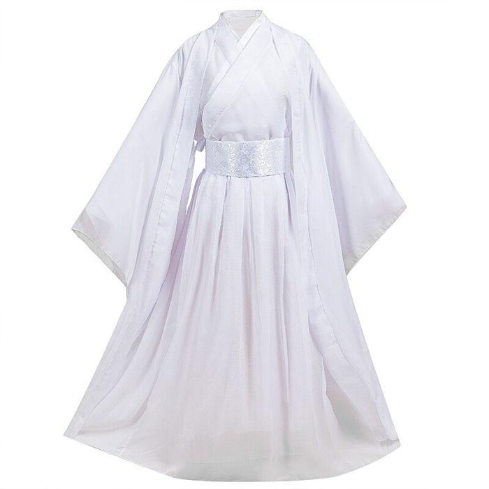 Eraspooky Unisex Xie Lian Cosplay Kostüm Tian Guan Ci Fu Cosplay Xielian perücken Bambus Hut Prop Weiß Han Fu Anime outfit 3