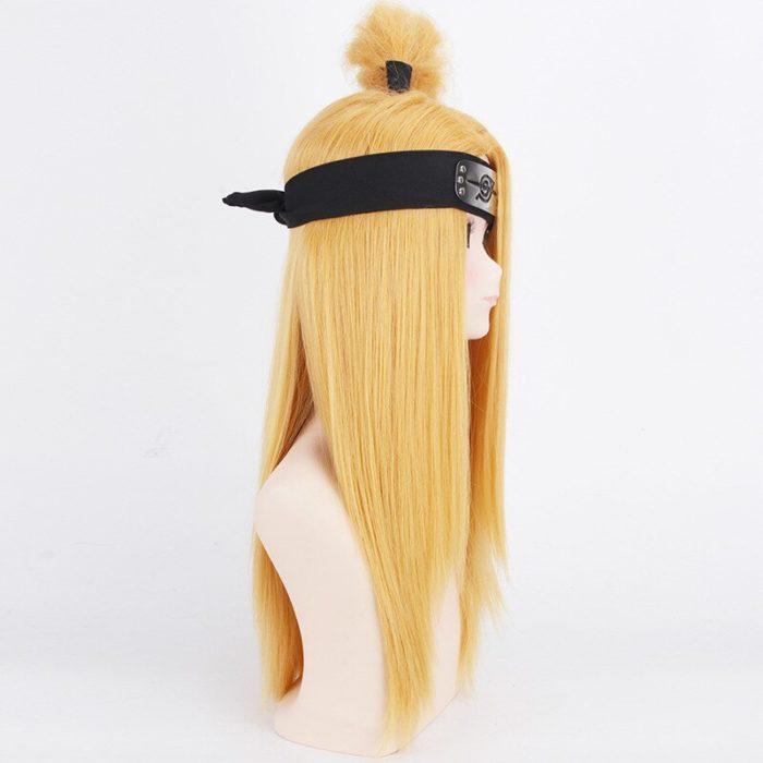 Naruto Akactuki Cosplay perücken halloween Deidara cosplay perücke für männer Lange Gold perücken haarteil kostüm 4