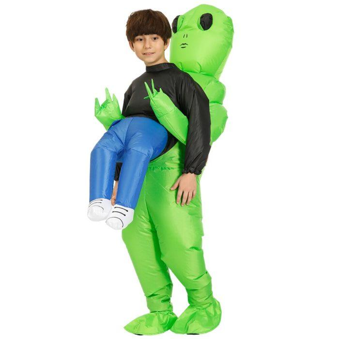 Heißer Grün Alien Aufblasbare kostüm Cosplay kostüm Lustige Blow Up Anzug Party kostüm Fancy Kleid Halloween Kostüm für erwachsene kinder 3