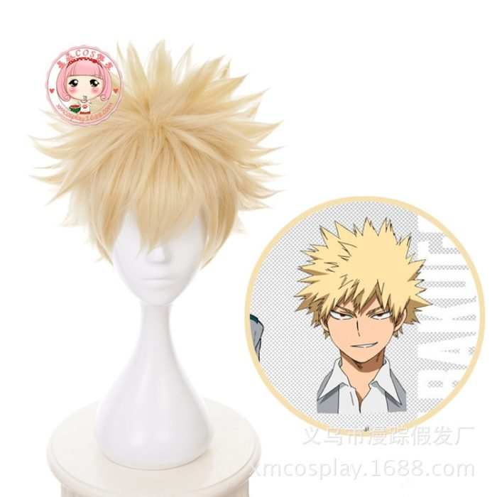 2019 neue Anime Mein Hero Wissenschaft Baku Keine Hero Bakugou Katsuki Bakugo Kurze Leinen Blonde Heat Resistant Cosplay Kostüm Perücke 1