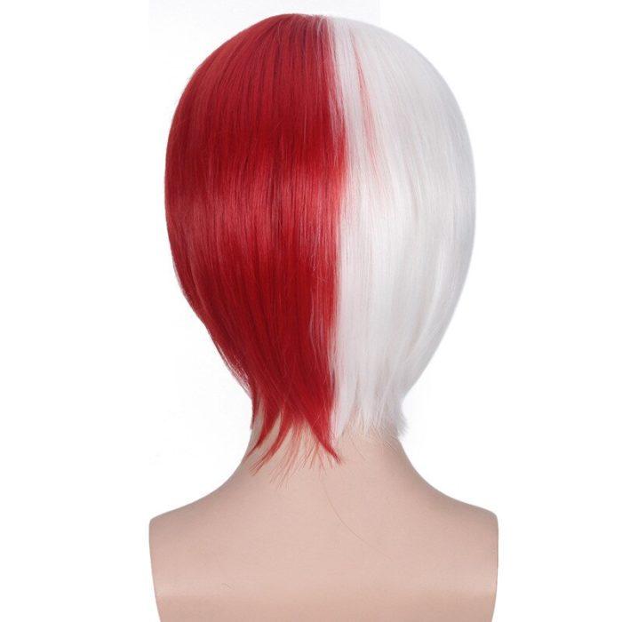 Cosplay Perücke Meine Hero Wissenschaft Boku keine Hiro Akademia Shoto Todoroki Shouto Weiß Und Rot Kopf Kostüm 5