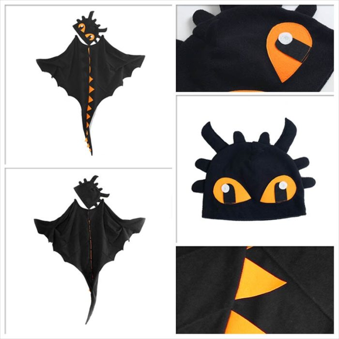 Drachen Kostüm Mantel mit Hut Zahnlos Drache Kostüm Cape Anime Cosplay Kostüme Dinosaurier Kostüm 4