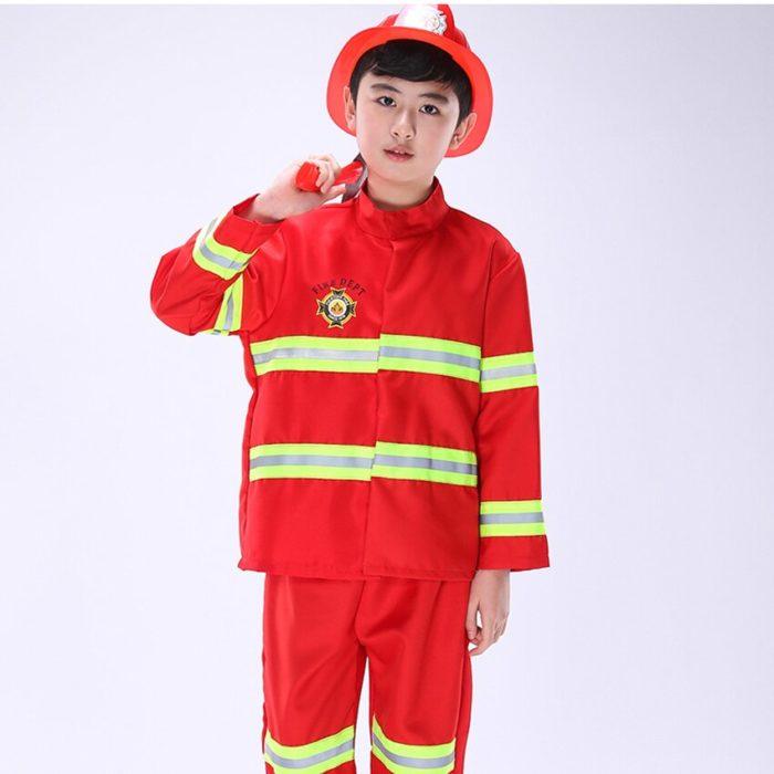 Kinder Feuerwehr Kostüme Baby Jungen Kleidung Set Halloween Party Cosplay Roleplay Feuerwehrmann Kostüme für Teenager Jungen mit Gürtel 5