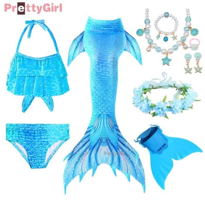 Pretty Kinder Mädchen Schwimmen Meerjungfrau schwanz Meerjungfrau Kostüm Cosplay Kinder Badeanzug Fantasie Strand Bikini können hinzufügen Monofin Fin 3