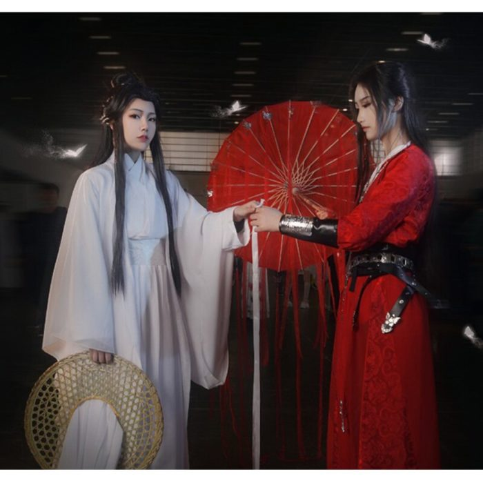 Eraspooky Unisex Xie Lian Cosplay Kostüm Tian Guan Ci Fu Cosplay Xielian perücken Bambus Hut Prop Weiß Han Fu Anime outfit 2