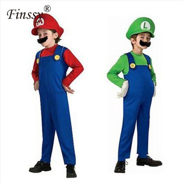 Halloween Kostüme Lustige Super Mary Luigi Bruder Kostüm Kinder Kinder Jungen Mädchen Fantasia Cosplay Overall 2