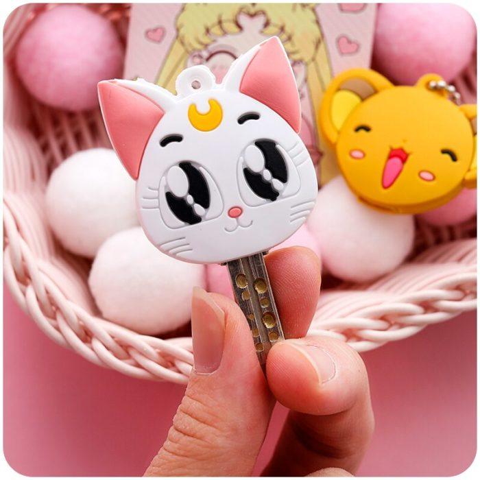 Sailor Moon Luna Card Captor Sakura Katze Keychain Abdeckung Cosplay Prop Anhänger Schlüsselring Anime 4