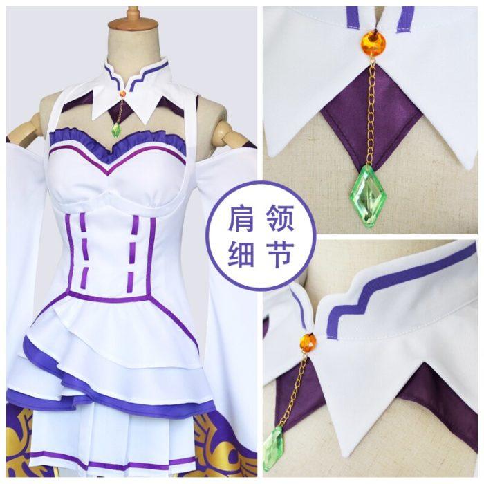 Re Null Kara Hajimeru Isekai Seikatsu Emilia Perücken Cosplay Kostüme Frauen Kleid Mit Kopfschmuck Für Halloween Party 3